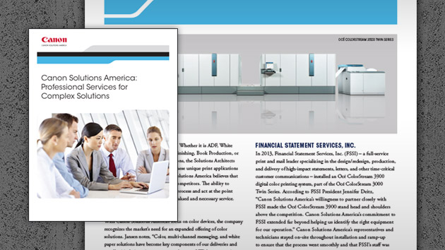 Canon Solutions America: Professional Services for Complex Solutions Article